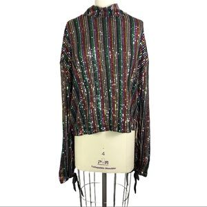 Free People Midnight City Top Sequined Rainbow XL